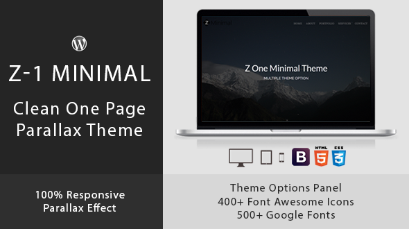 Z-1 Minimal- One Page Parallax WordPress Theme