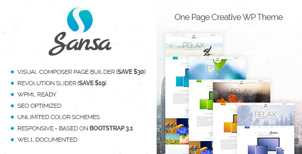 Sansa – One Page Responsive WordPress Theme