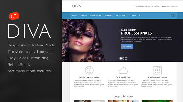 Diva – Responsive Spa & Beauty WordPress Theme