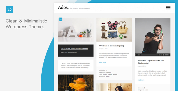 Ados – Clean, Responsive Blog WordPress Theme