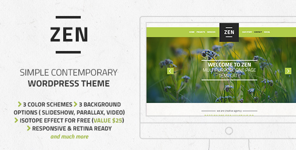 Zen – Responsive Multi-Purpose OnePage WordPress Theme