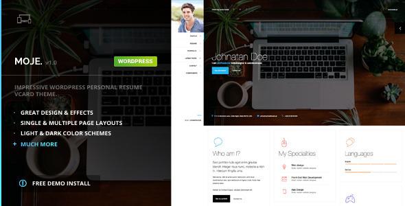 Moje – vCard Bootstrap Responsive WordPress Theme