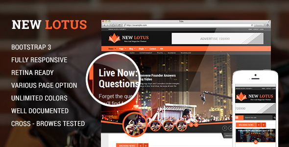 New Lotus Magazine WordPress theme