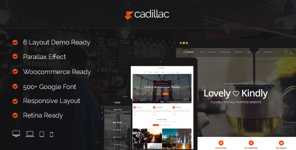 Cadillac – 6 Multipurpose Layout WordPress Theme