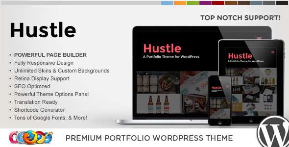 WP Hustle Responsive Portfolio WordPress Theme