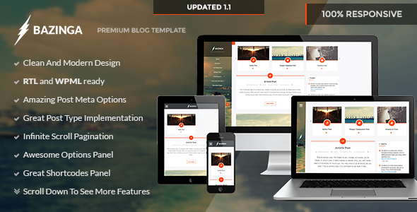 Bazinga – Blog/Portfolio/Profile WordPress Theme