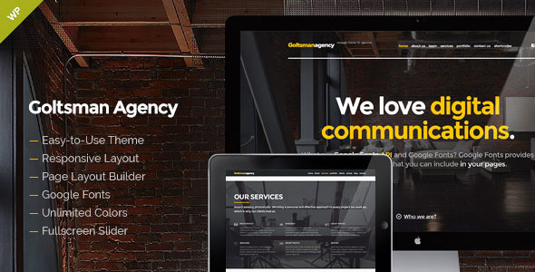 Goltsman Agency – One Page WordPress Theme