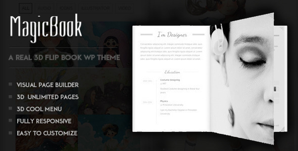 MagicBook – A 3D Flip Book WordPress Theme