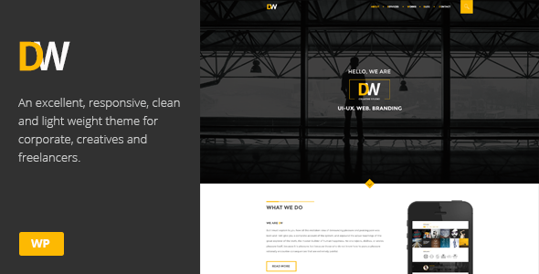 DW – Creative One Page Parallax WordPress Theme