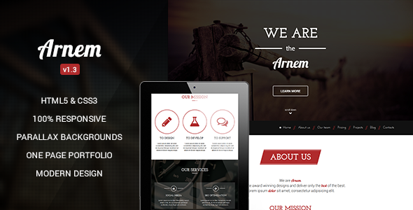 Arnem – Creative One Page Parallax WordPress Theme