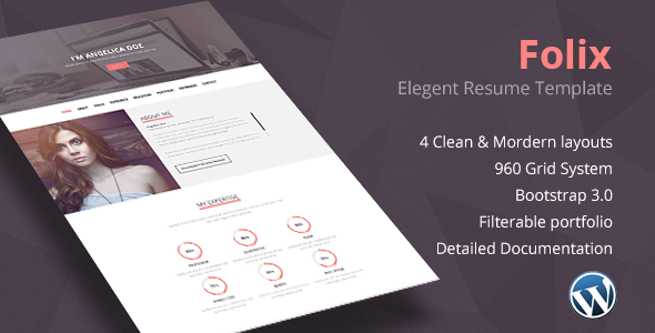 Folix -Resume, Personal, Portfolio WordPress Theme