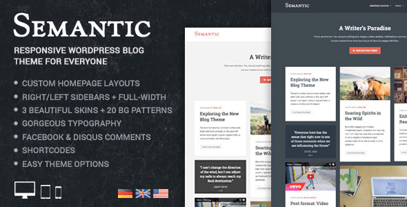 Semantic – Responsive & Clean WordPress Blog Theme