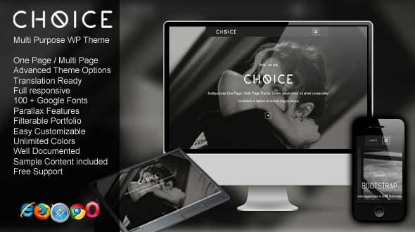 Choice – One Page / Multi Page Portfolio