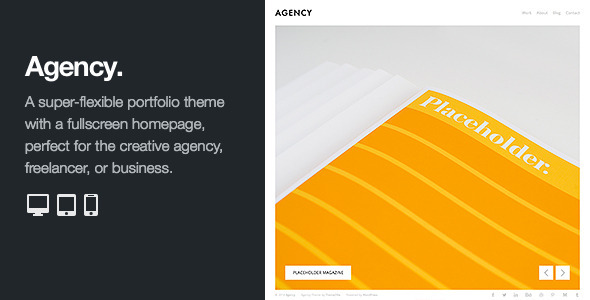 Agency: Fullscreen Minimal WordPress Portfolio