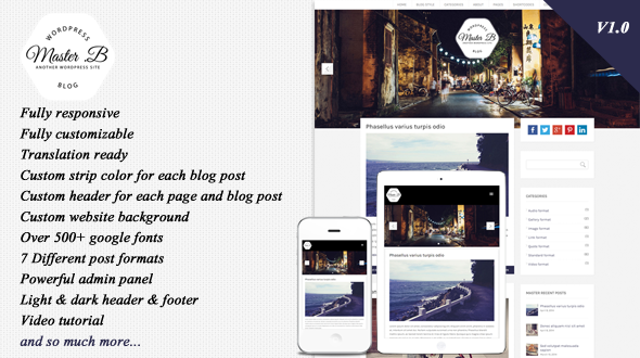 Master – Responsive WordPress Theme for Blog