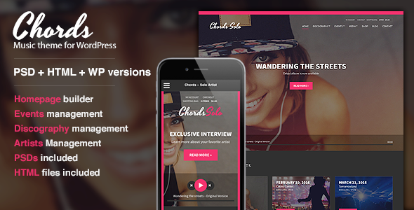 Chords – Music / Artist / Radio WordPress theme