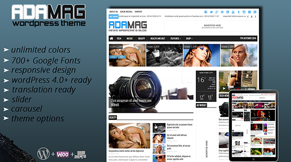 Adamag news magazine wordpress theme