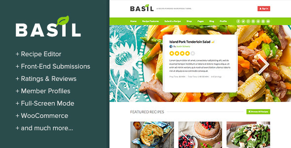 Basil Recipes – A Recipe-Powered WordPress Theme
