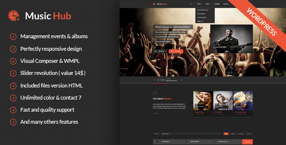 MusicHub – Music/Band/Club/Party WordPress Theme