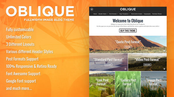 Oblique – A Fullwidth Responsive WordPress Blogging Theme