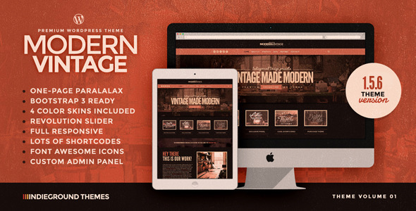 Modern Vintage | Premium One Page WordPress Theme
